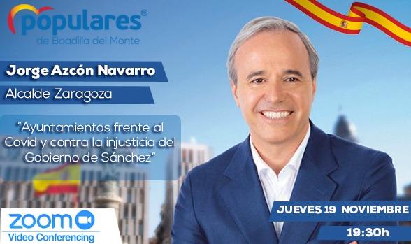 El alcalde de Zaragoza, Jorge Azcón, con afiliados y simpatizantes del PP de Boadilla
